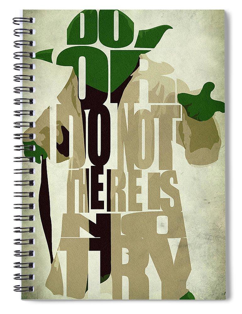 Yoda Spiral Notebook featuring the digital art Yoda - Star Wars by Inspirowl Design