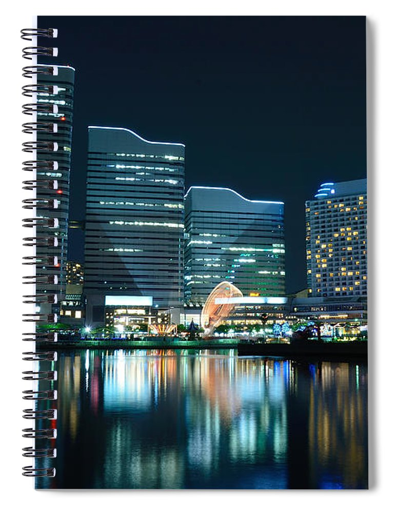 Minato Mirai Spiral Notebook featuring the photograph Yokohama Minato-mirai by Kaoru Hayashi