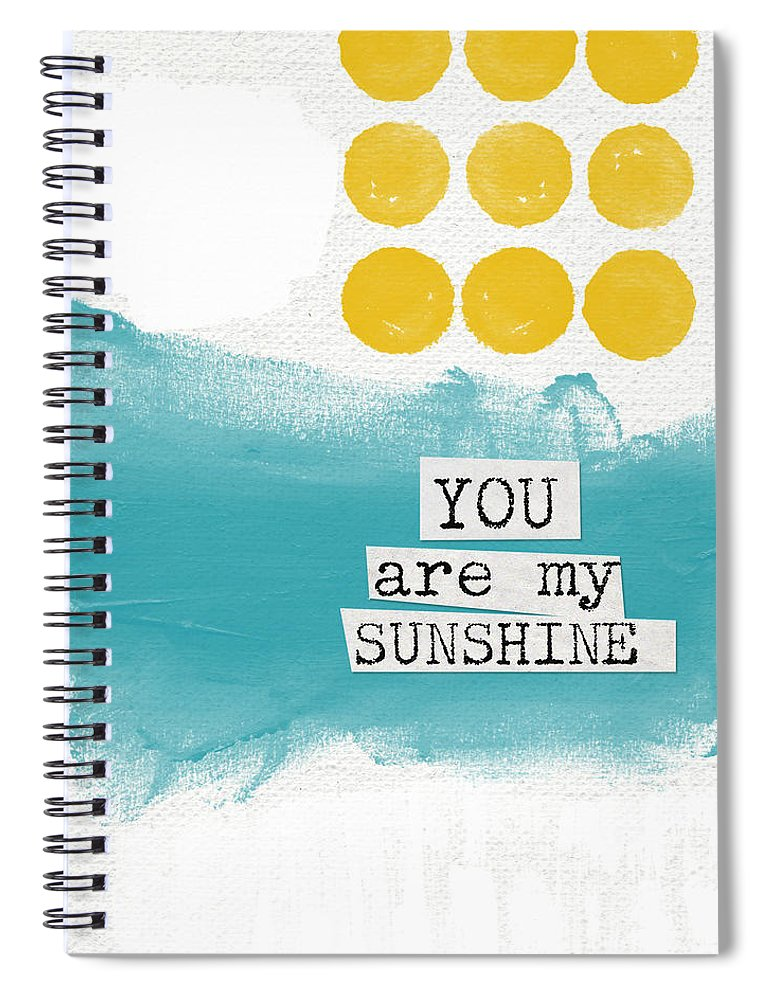 Love Spiral Notebook featuring the painting You Are My Sunshine- abstract mod art by Linda Woods