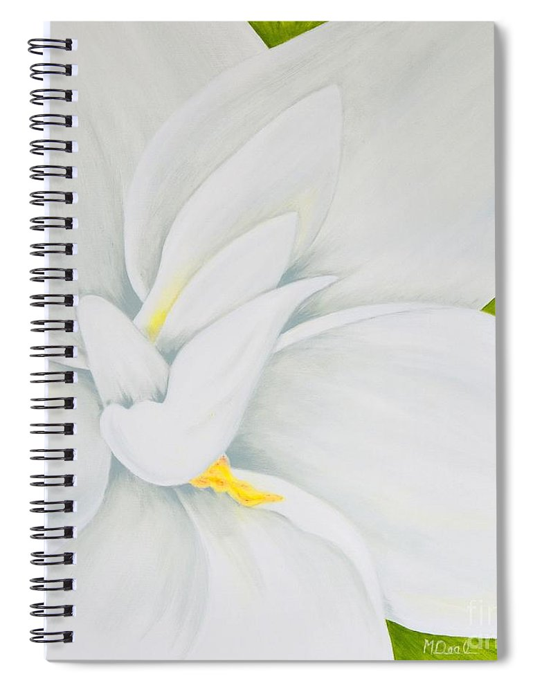 Gardenia Spiral Notebook featuring the painting Young Gardenia by Mary Deal