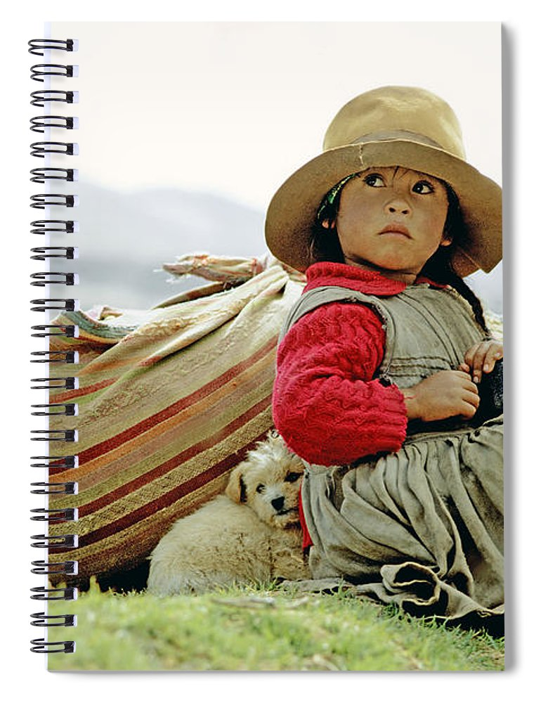 Girl Spiral Notebook featuring the photograph Young Girl In Peru by Victor Englebert