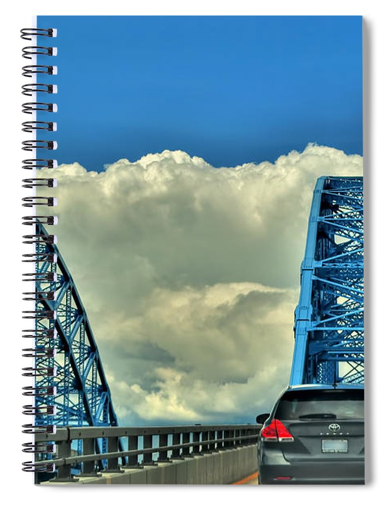 Spiral Notebook featuring the photograph 005 Grand Island Bridge Series by Michael Frank Jr