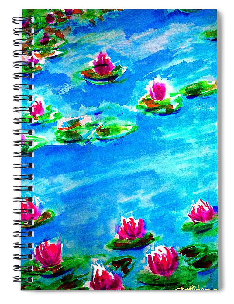 A Homage To Monet Spiral Notebook featuring the painting A Homage to Monet by Seth Weaver
