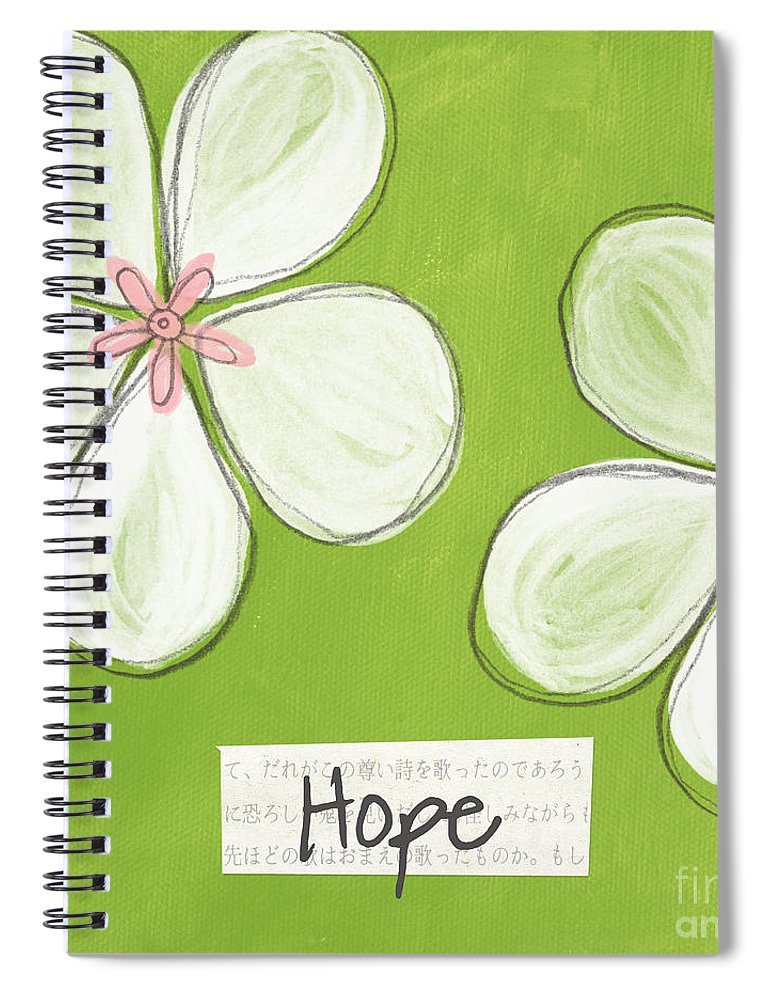 cherry Blossoms Spiral Notebook featuring the painting Cherry Blossom Hope by Linda Woods