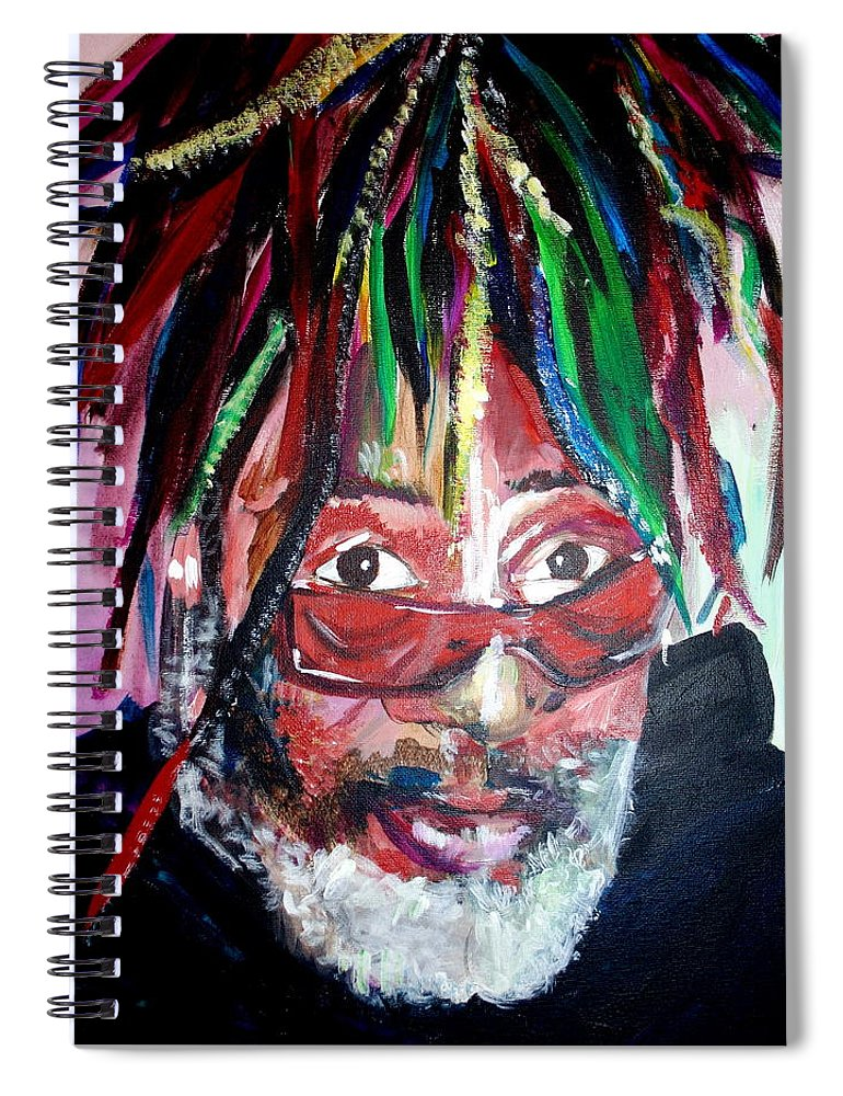 Spiral Notebook featuring the painting George Clinton by Kate Fortin
