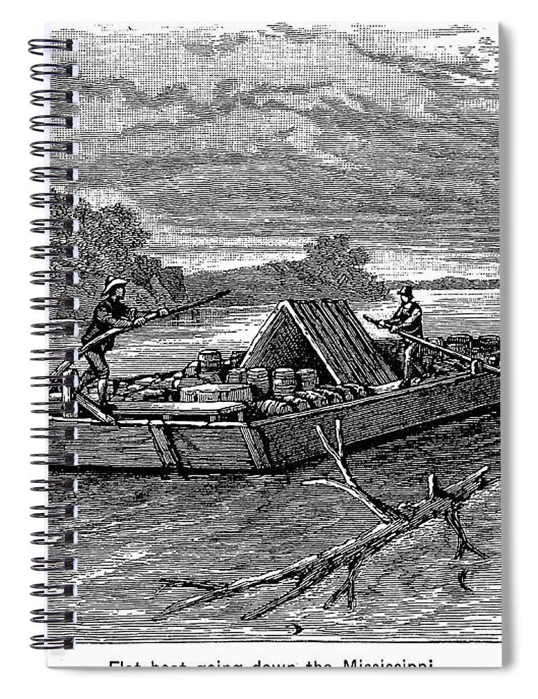 19th Century Spiral Notebook featuring the photograph Mississippi: Flatboat by Granger