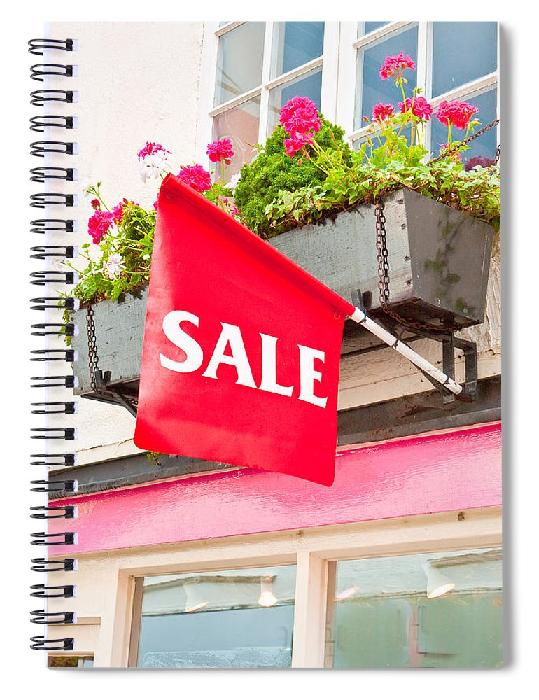Bargain Spiral Notebook featuring the photograph Sale Sign by Tom Gowanlock