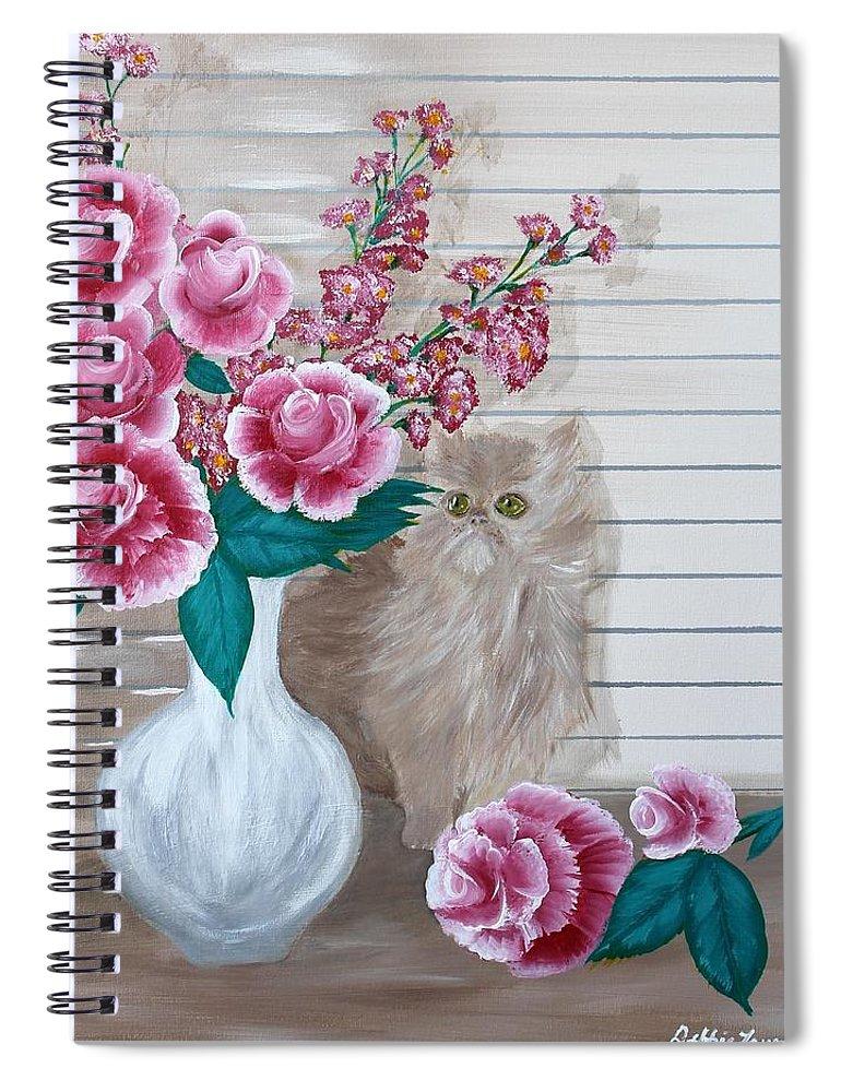 Kitten Spiral Notebook featuring the painting Sneaky Kitten by Debbie Levene