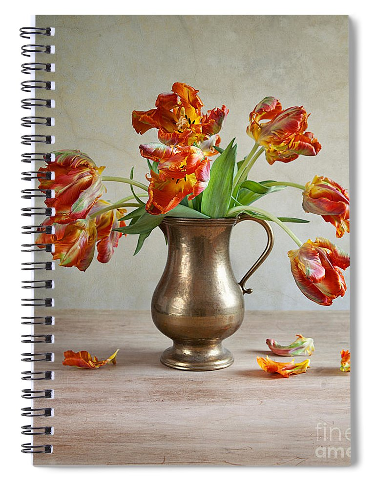Petals Spiral Notebook featuring the photograph Still Life With Tulips by Nailia Schwarz