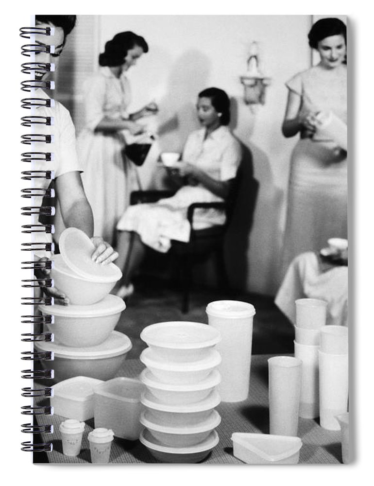 1950s Spiral Notebook featuring the photograph TUPPERWARE PARTY, 1950s by Granger
