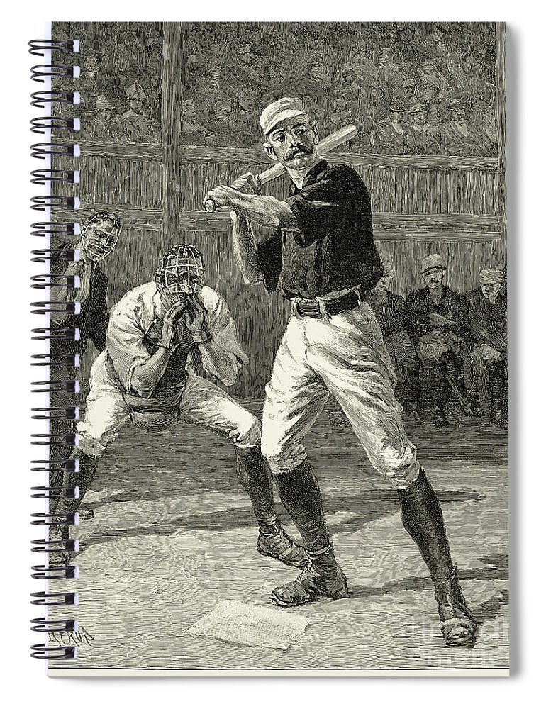 1888 Spiral Notebook featuring the photograph Baseball, 1888 by Granger