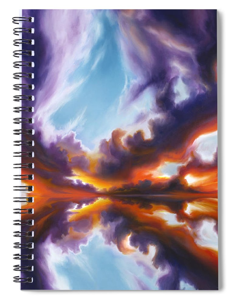 Bright Clouds; Sunsets; Reflections; Ocean; Water; Purple; Orange; Storms; Lightning; Contemporary; Abstract; Realism; James Christopher Hill; James Hill Studios; James C. Hill Spiral Notebook featuring the painting Reflections of the Mind by James Christopher Hill