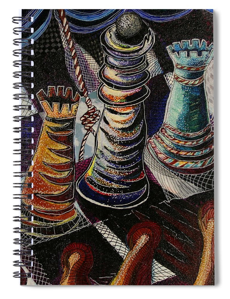 Chess Spiral Notebook featuring the painting 2 Rooks And A Queen by Kate Fortin