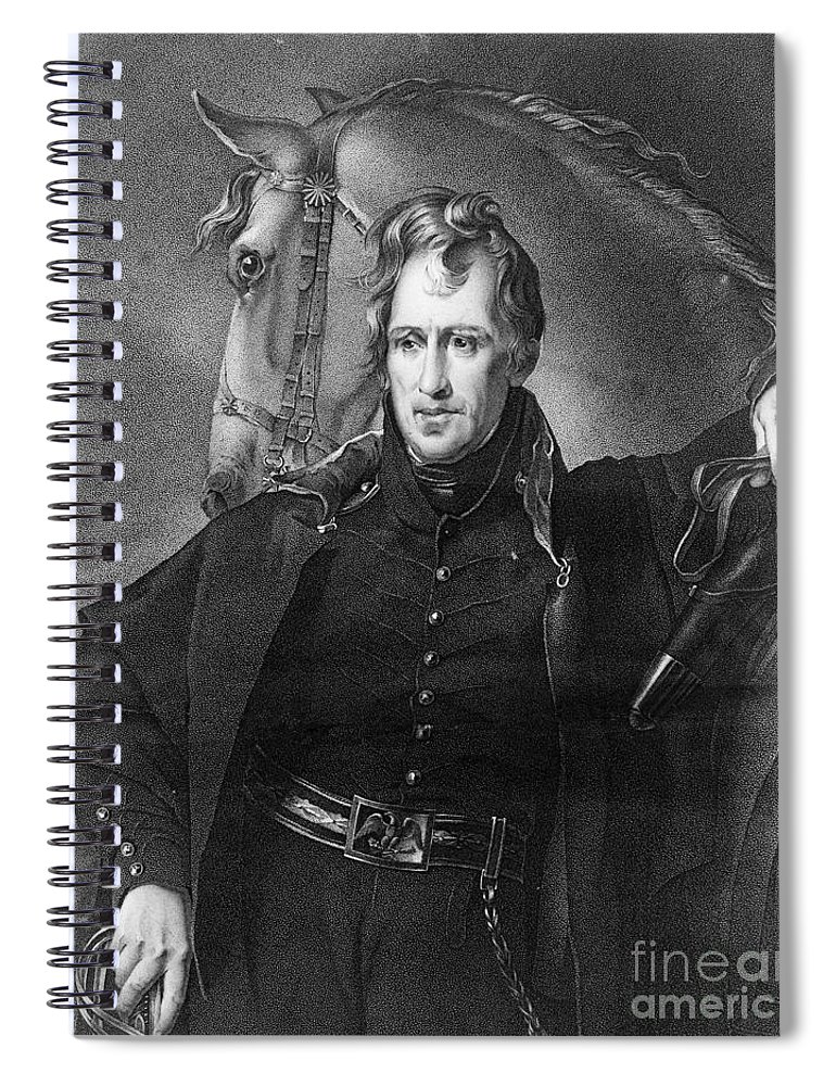 1820 Spiral Notebook featuring the photograph Andrew Jackson (1767-1845) by Granger