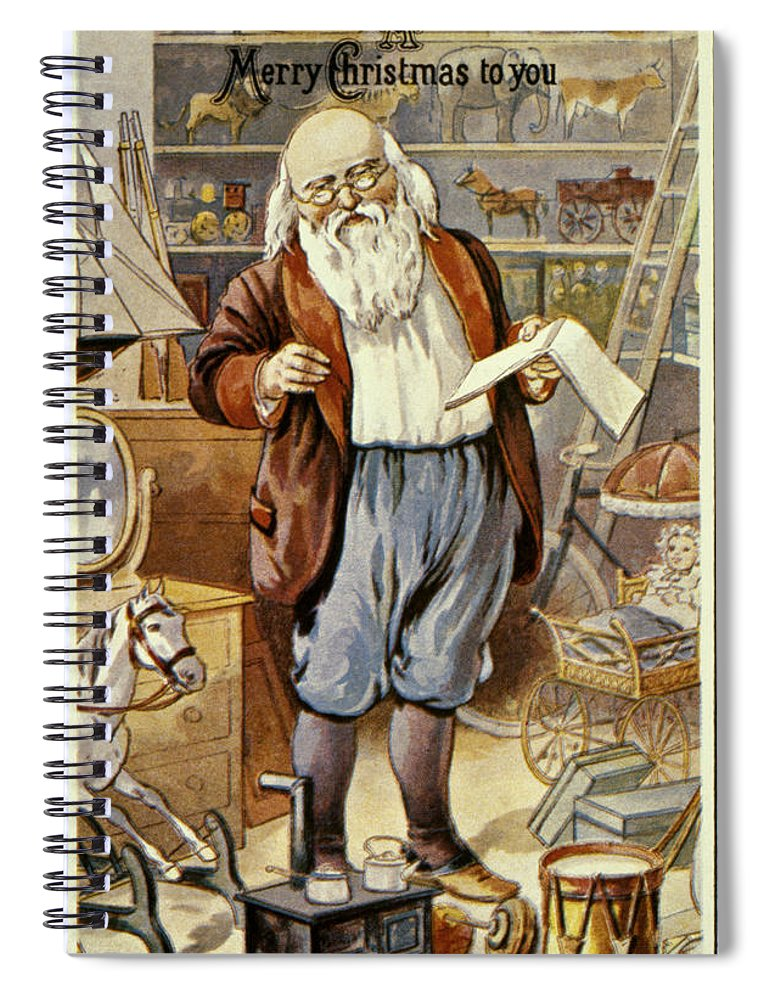 19th Century Spiral Notebook featuring the photograph American Christmas Card by Granger