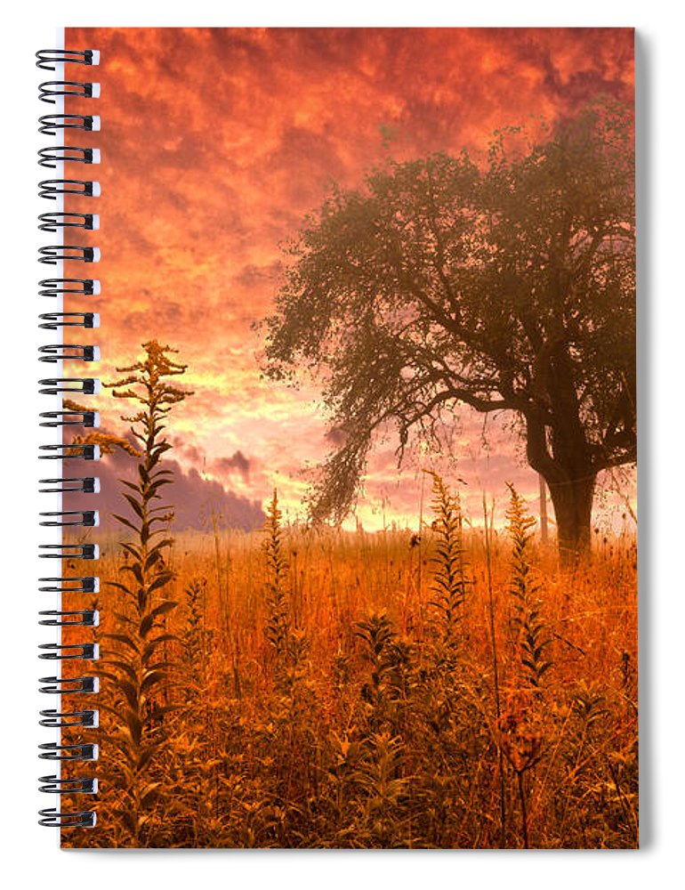 Andrews Spiral Notebook featuring the photograph Aflame by Debra and Dave Vanderlaan