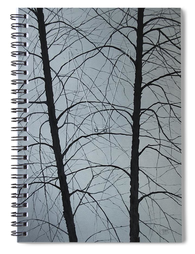 Winter Trees Spiral Notebook featuring the painting Aging by Roger Calle