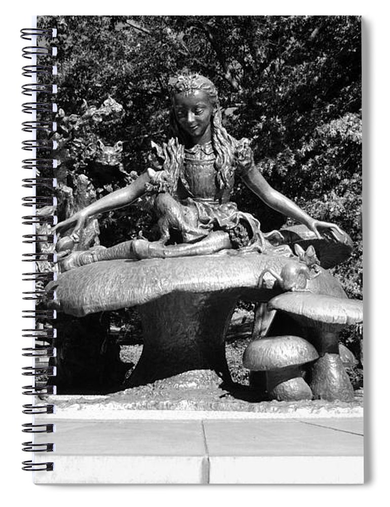Central Park Spiral Notebook featuring the photograph ALICE IN WONDERLAND in CENTRAL PARK in BLACK AND WHITE by Rob Hans