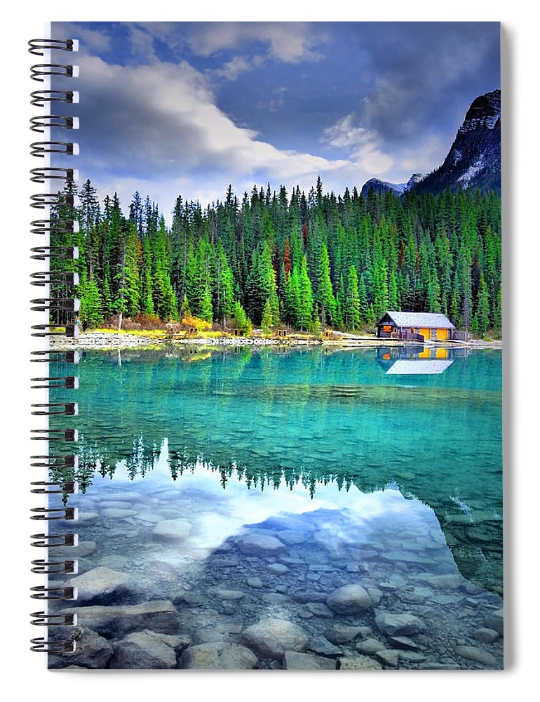 Lake Louise Spiral Notebook featuring the photograph All Things Reflected by Tara Turner