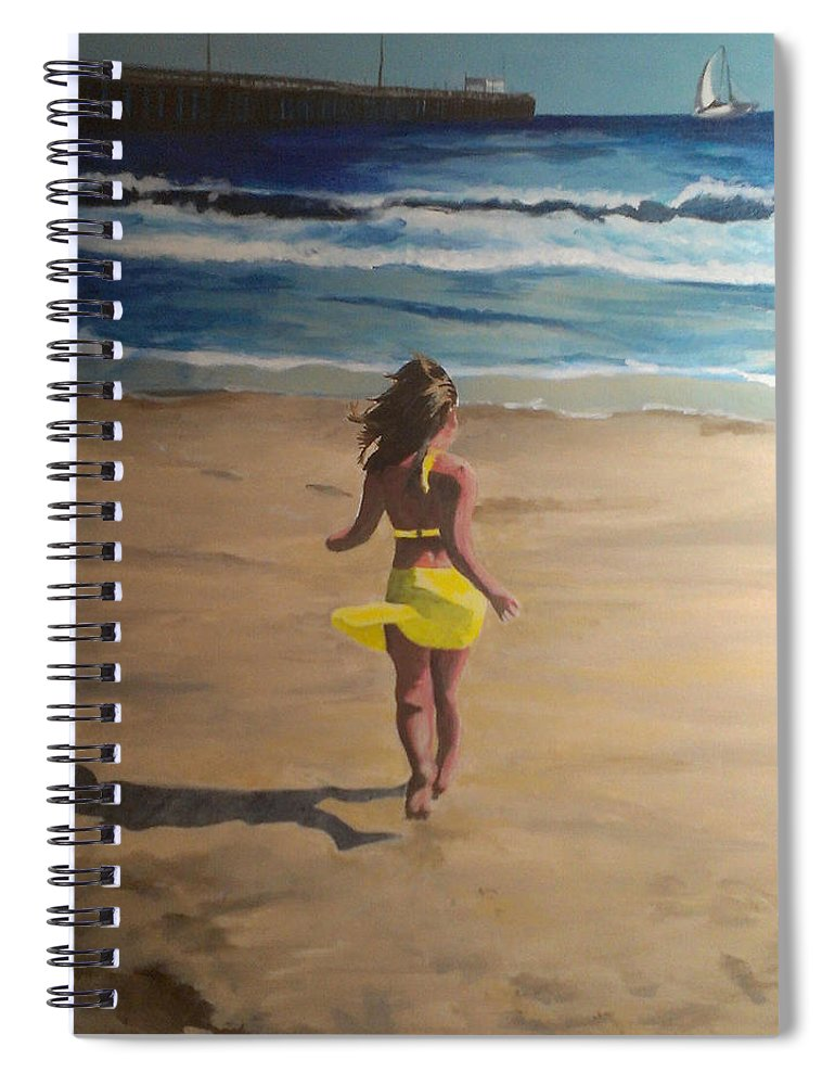Beach Spiral Notebook featuring the painting Amelia Beach by Travis Day