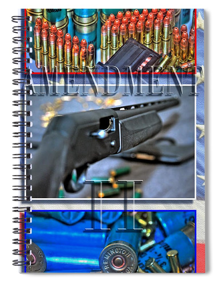 Spiral Notebook featuring the photograph Amendment II With Text by Michael Frank Jr