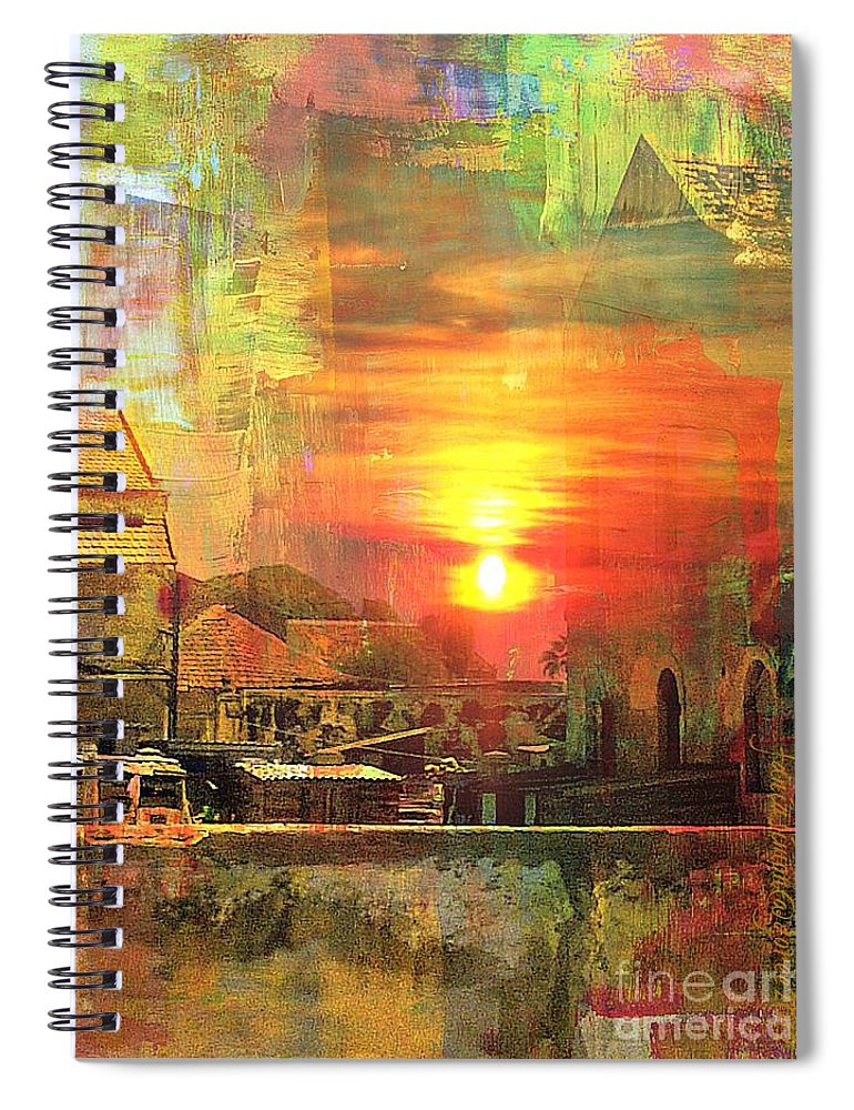 Fania Simon Spiral Notebook featuring the mixed media Another Day In Poverty by Fania Simon