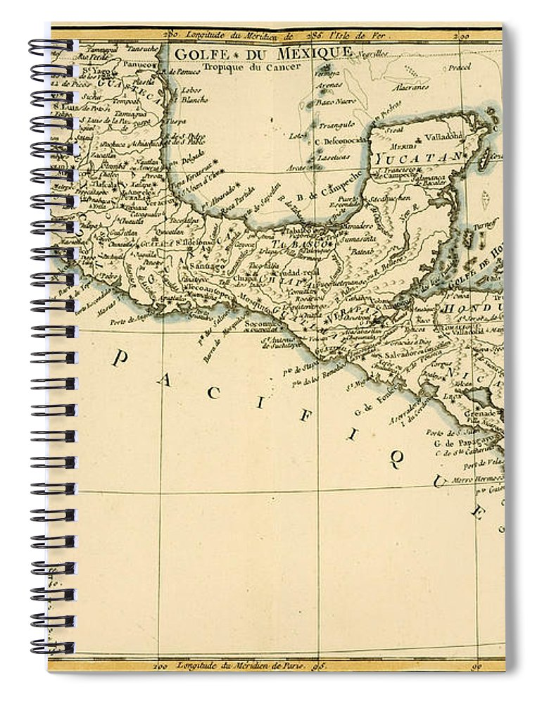 Antique Map Of Southern Mexico Spiral Notebook