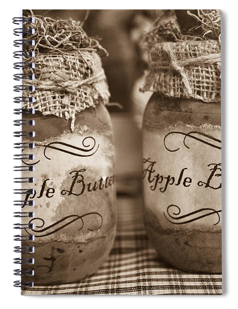 Apple Spiral Notebook featuring the photograph Apple Butter in Sepia by Douglas Barnett