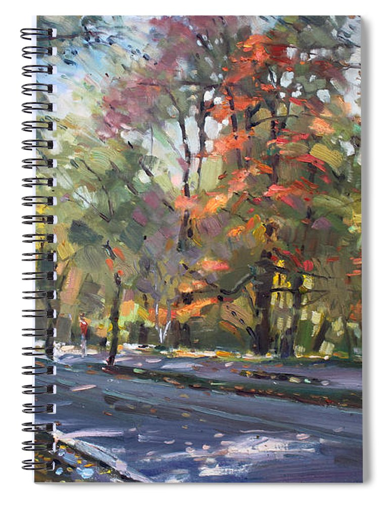 Niagara Falls Spiral Notebook featuring the painting Autumn In Niagara Falls Park by Ylli Haruni
