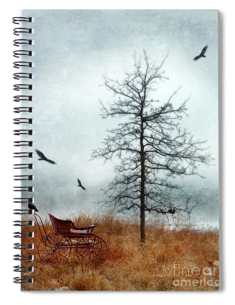 Buggy Spiral Notebook featuring the photograph Baby Buggy By Tree With Nest And Birds by Jill Battaglia