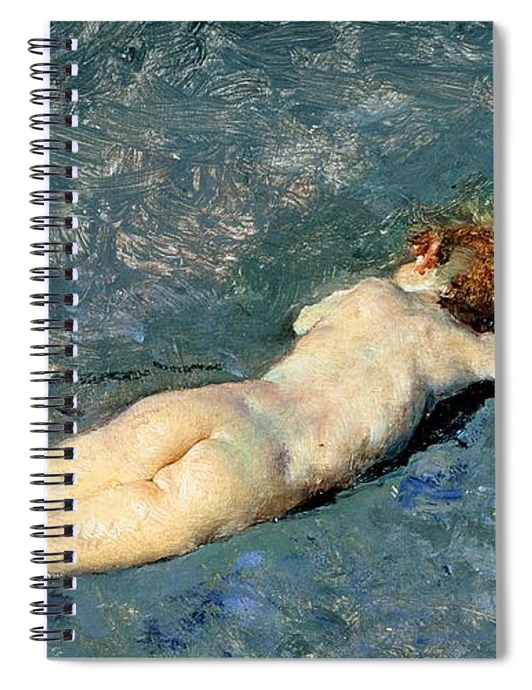 Nude Spiral Notebook featuring the painting Beach At Portici by Mariano Fortuny y Marsal