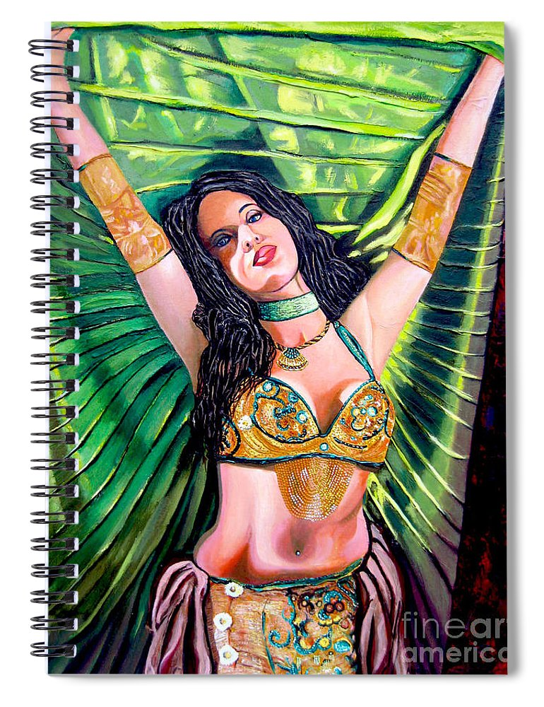 Girl Spiral Notebook featuring the painting Belly Dancer by Jose Manuel Abraham