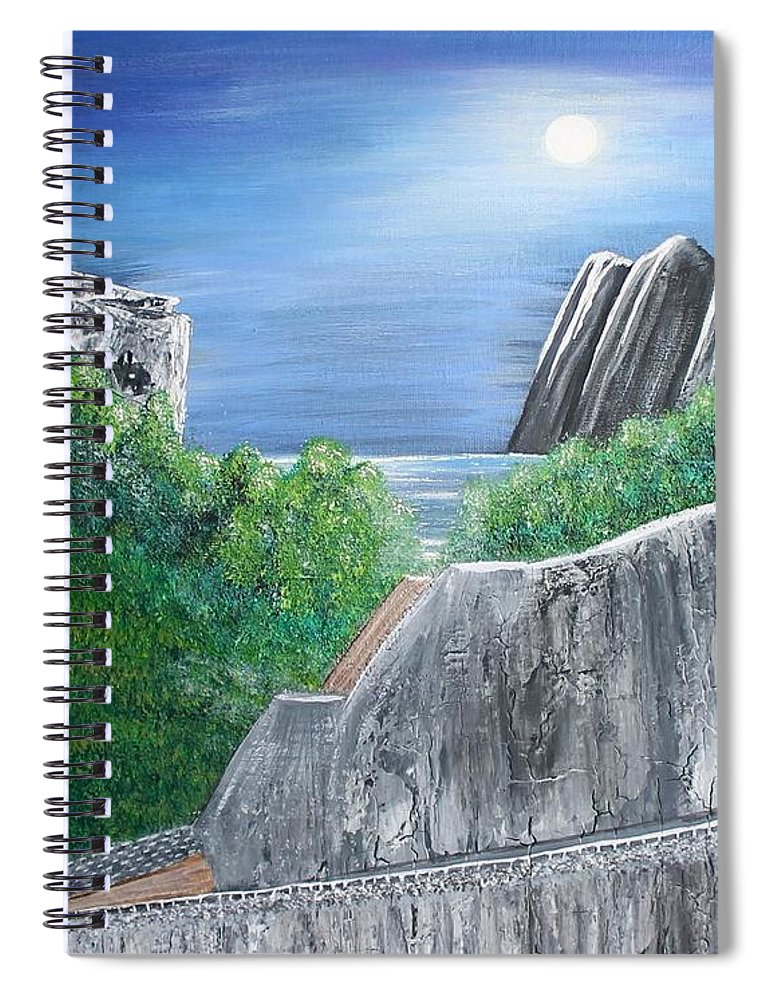 Rocks Spiral Notebook featuring the painting Beyond the Rock by Debbie Levene