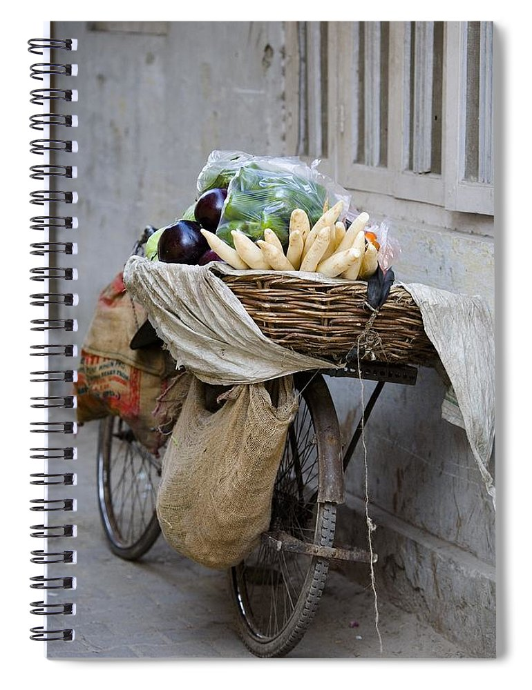 Activity Spiral Notebook featuring the photograph Bicycle Loaded With Food, Delhi, India by David DuChemin