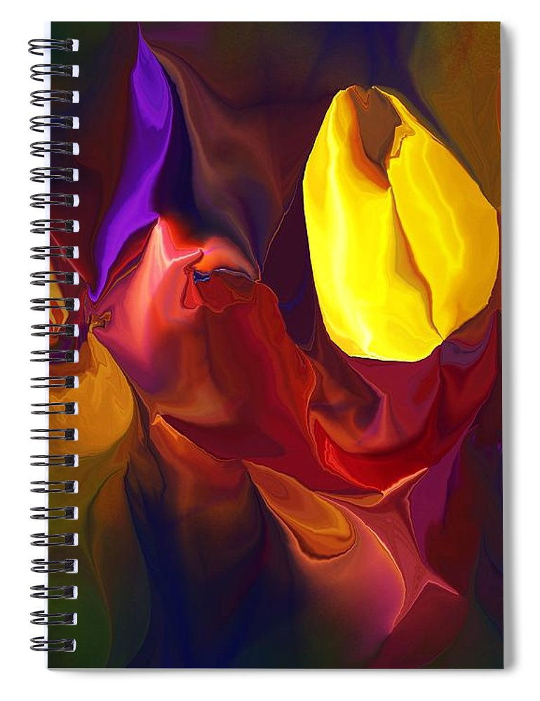 Abstract Spiral Notebook featuring the digital art Botanical Fantasy 122011 by David Lane