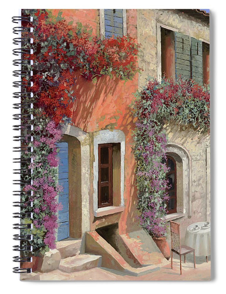 Caffe Spiral Notebook featuring the painting Caffe Sulla Discesa by Guido Borelli