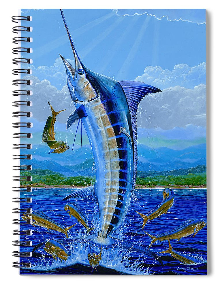 Marlin Spiral Notebook featuring the painting Caribbean Blue by Carey Chen