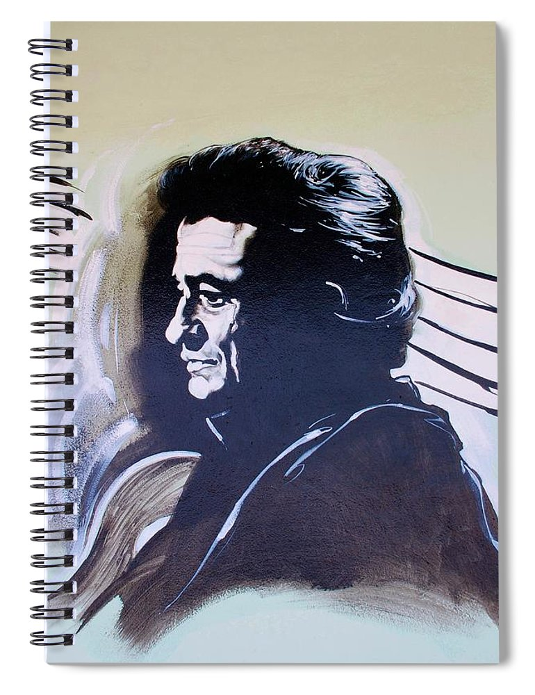 Johnny Cash Spiral Notebook featuring the photograph Cash by Rob Hans