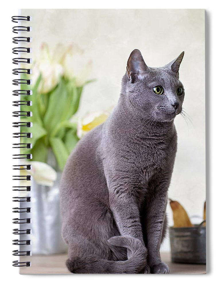 Tulip Spiral Notebook featuring the photograph Cat And Tulips by Nailia Schwarz