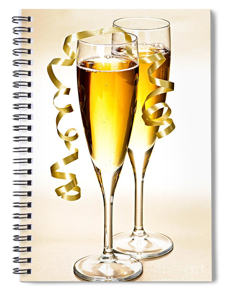 Champagne Spiral Notebook featuring the photograph Champagne Glasses by Elena Elisseeva