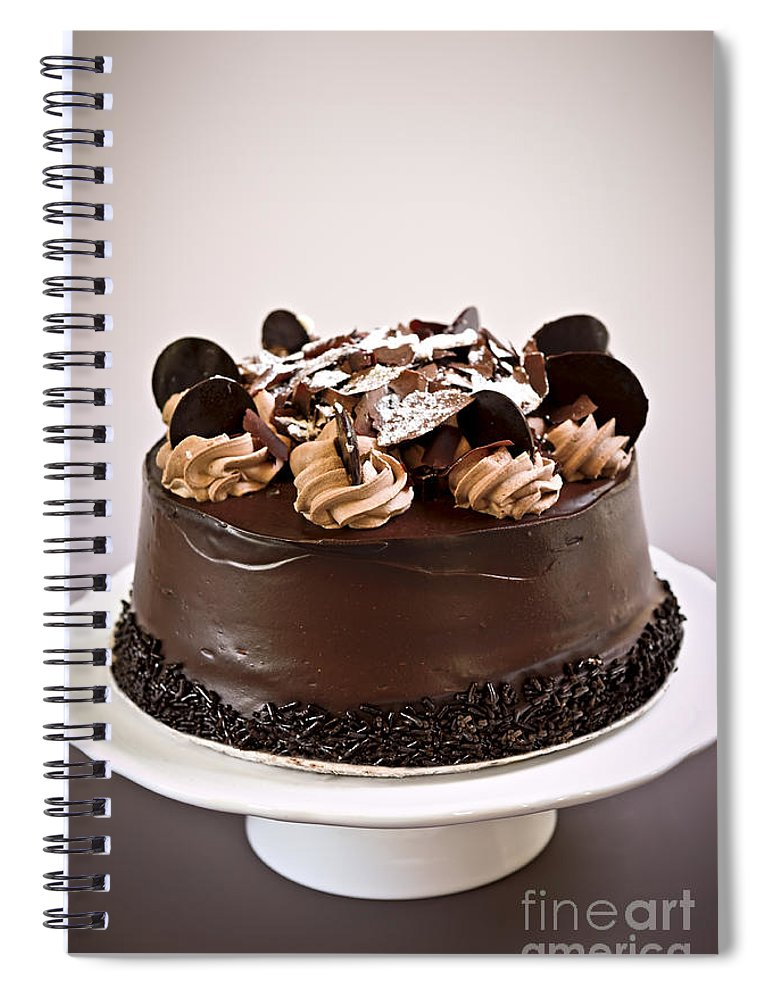 Cake Spiral Notebook featuring the photograph Chocolate Cake by Elena Elisseeva