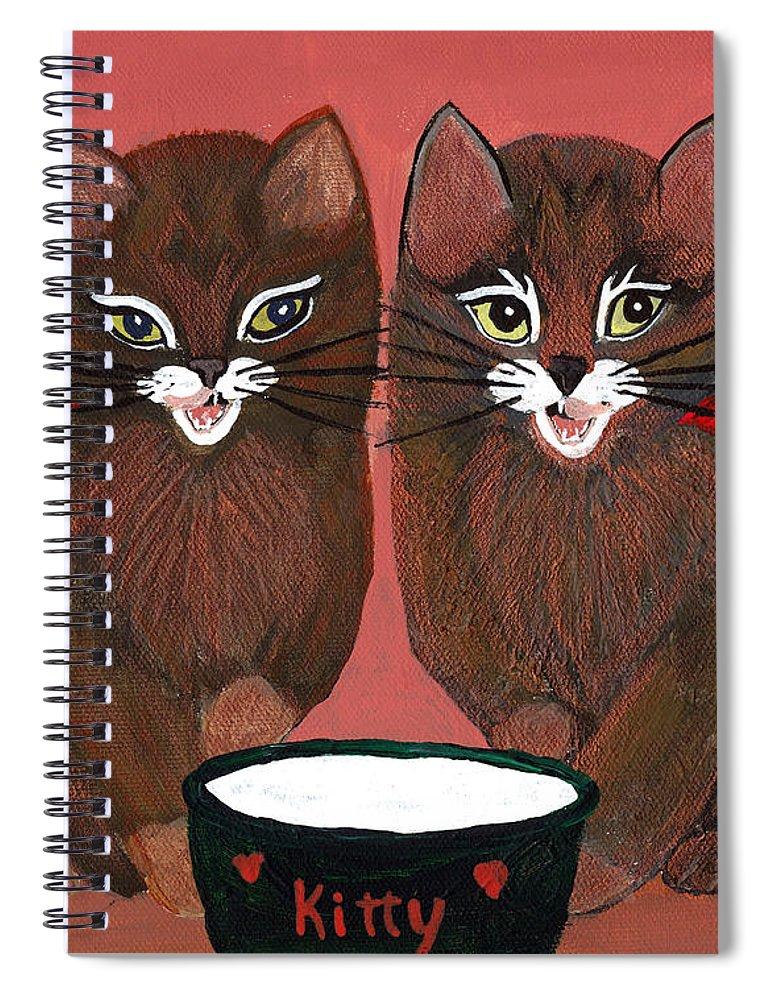 Animals Spiral Notebook featuring the painting Copper Kitty by LeeAnn McLaneGoetz McLaneGoetzStudioLLCcom