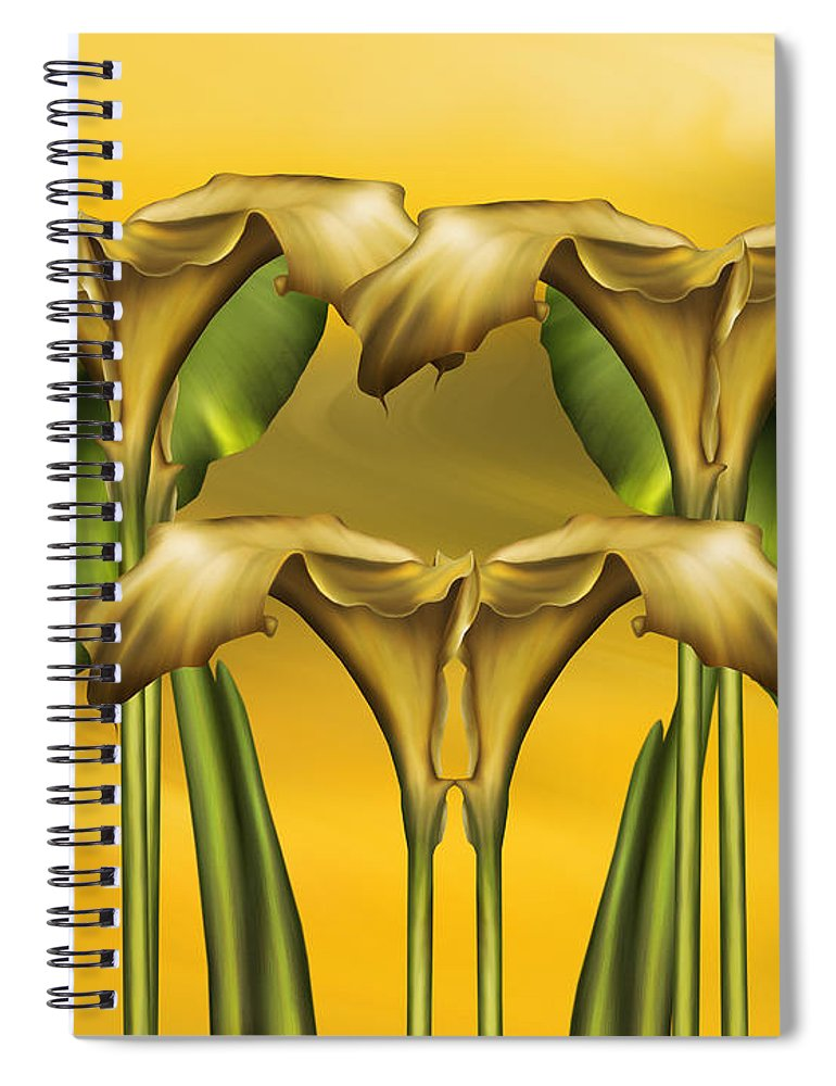 Abstract Realism Spiral Notebook featuring the digital art Dance Of The Yellow Calla Lilies by Georgiana Romanovna