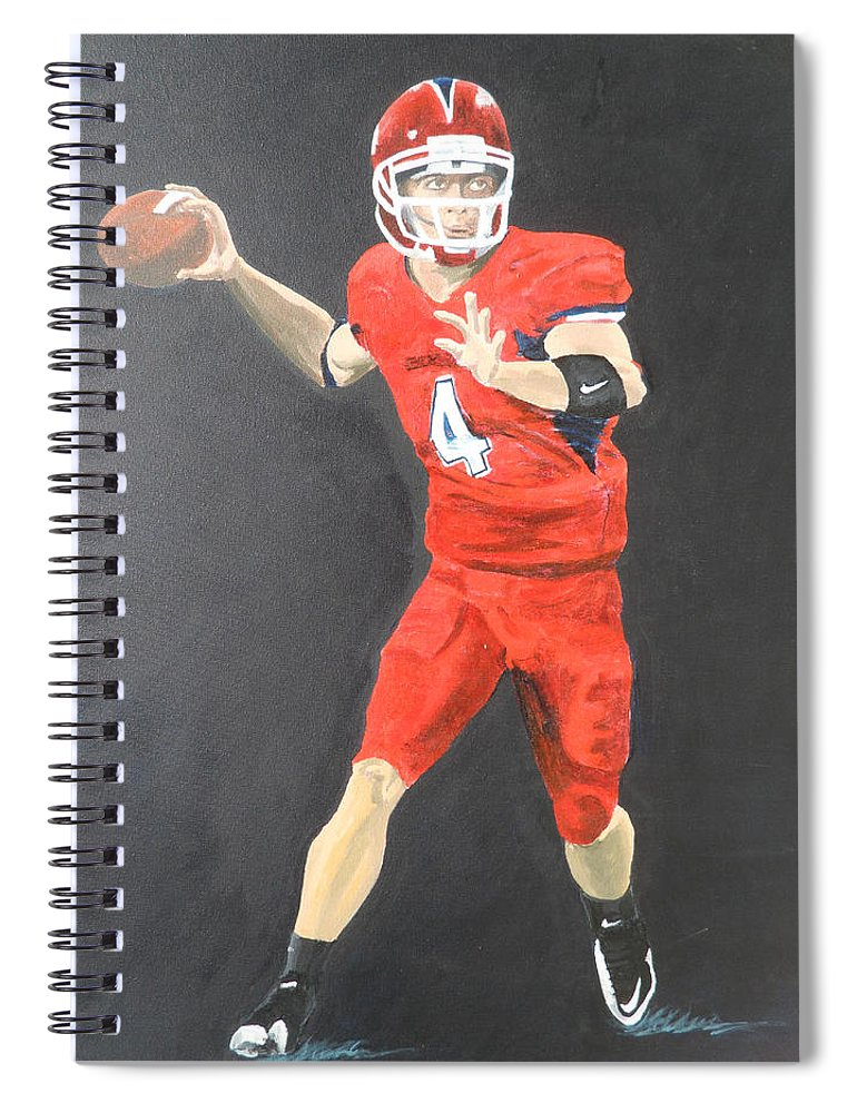 Derek Carr Spiral Notebook featuring the painting Derek Carr by Travis Day