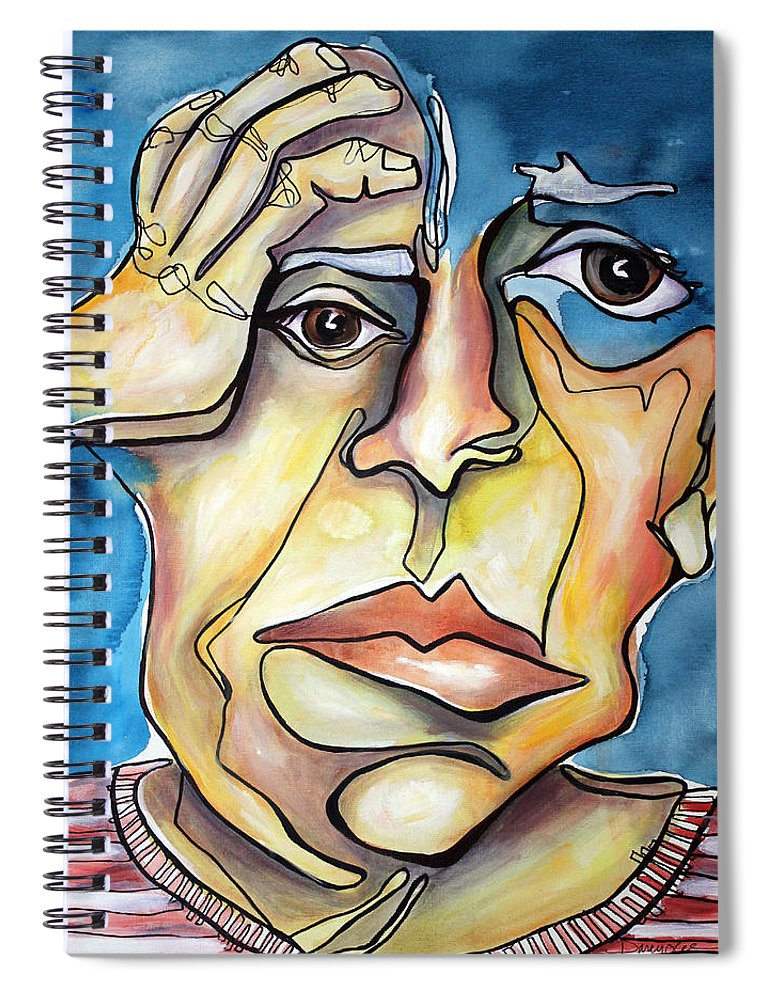 Portrait Spiral Notebook featuring the painting Disjointed Thought by Darcy Lee Saxton