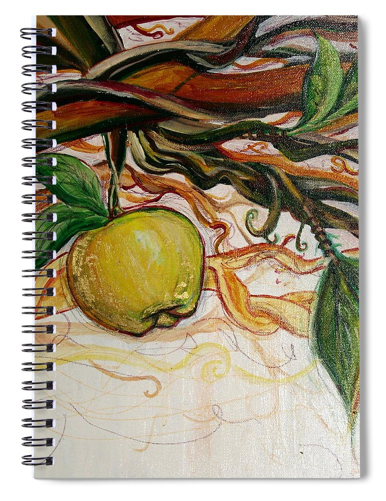 Apple Spiral Notebook featuring the painting Fifth World Five by Kate Fortin