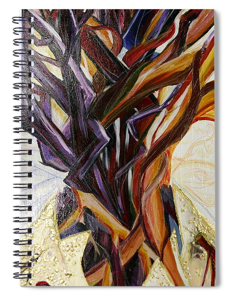Apple Spiral Notebook featuring the painting Fifth World Three by Kate Fortin
