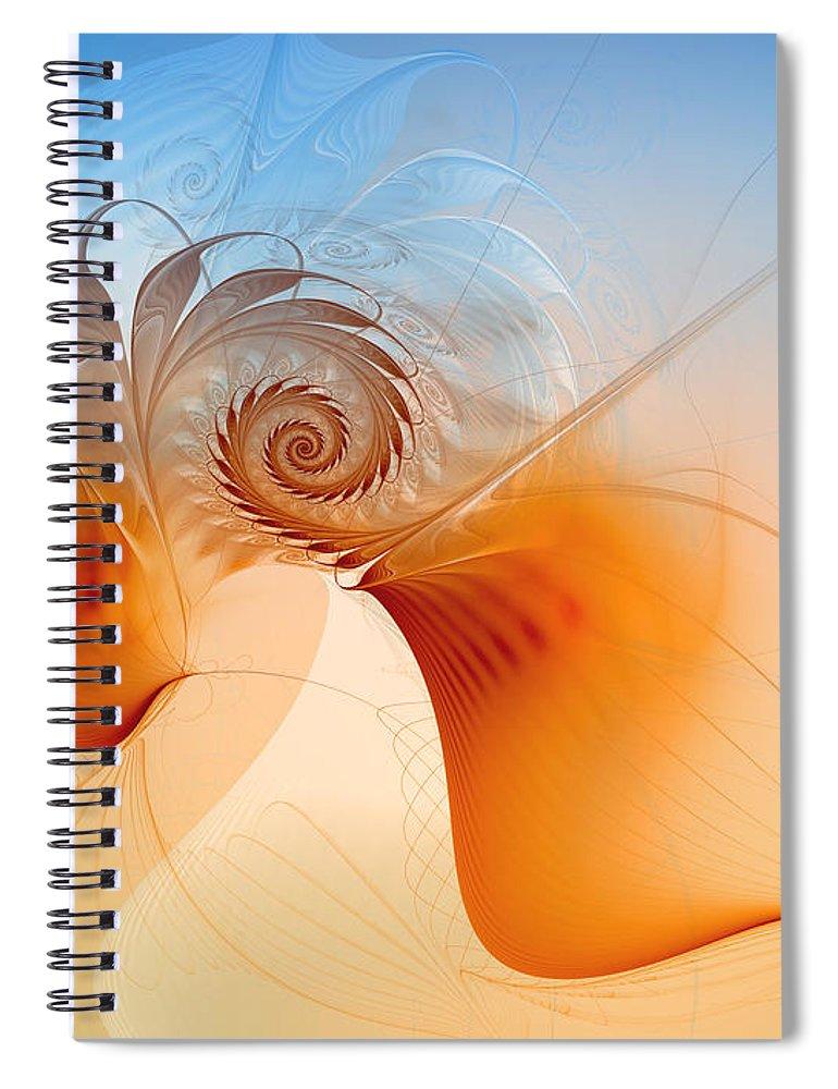 Fractal Spiral Notebook featuring the digital art Freedom by Jutta Maria Pusl