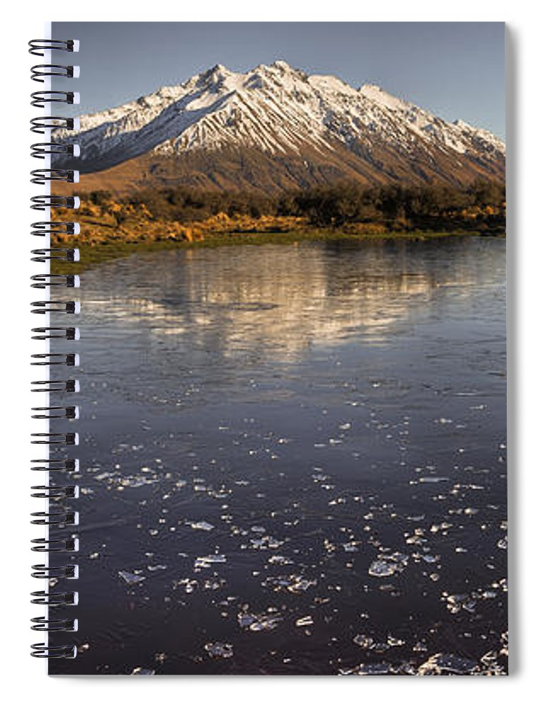 Hhh Spiral Notebook featuring the photograph Frozen Tarn Near Mt Potts Station by Colin Monteath