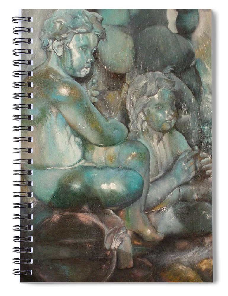 Art Fine Spiral Notebook featuring the painting Fuente Girondins-Detalle by Tomas Castano